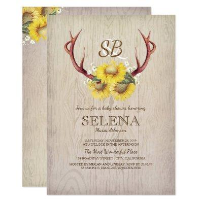 rustic antlers baby shower baby shower invitations | baby shower, Baby shower invitations