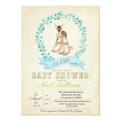 Deer Baby Shower Boy Invitation