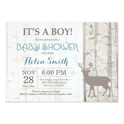 Deer Boy Baby Shower Invitations Rustic Woodland