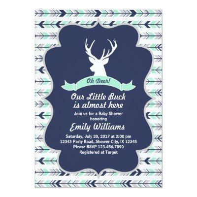 Deer Woodland Baby Shower Invitations