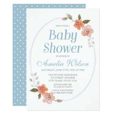 Delicate Floral Blue Baby Shower Invitation