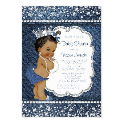 Denim Diamond African American Girl Baby Shower Invitation
