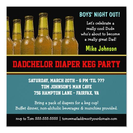 Diaper Keg Dadchelor Beer Party Invitations – Beer Party Invitations