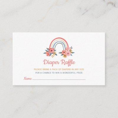 Diaper Raffle Baby Shower Floral Rainbow Colorful Enclosure Card