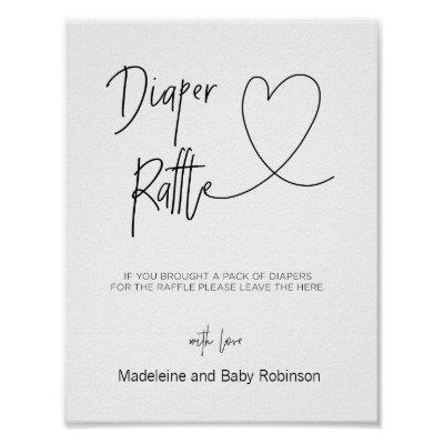 Diaper Raffle Sign for Baby Shower Games Heart
