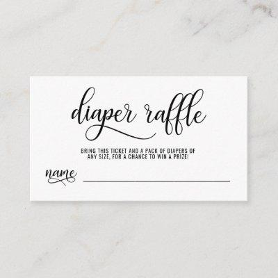 DIAPER RAFFLE Ticket black & white Baby Shower Enclosure Card