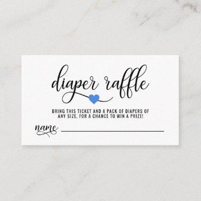 DIAPER RAFFLE Ticket Blue Heart Boy Baby Shower Enclosure Card