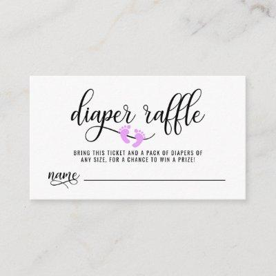 DIAPER RAFFLE Ticket Lavender Feet Baby Shower Enclosure Card