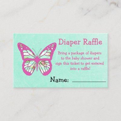 Diaper Raffle Ticket Teal and Pink with Bow Enclosure Card
