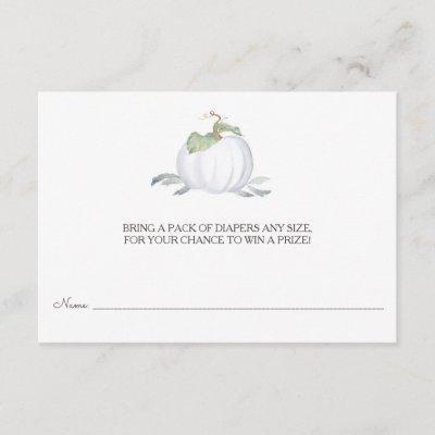 Diaper Raffle Ticket, White Little Pumpkin Enclosure Card