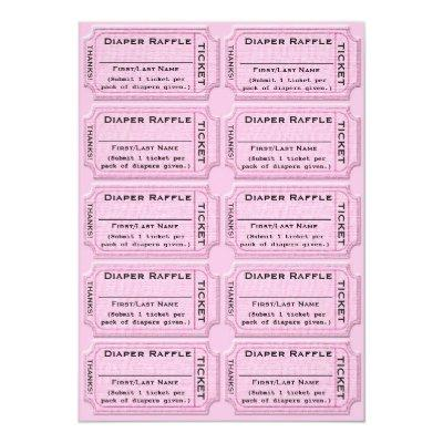 Diaper Raffle Tickets Cute Baby Shower Invitations