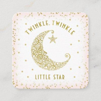 Diaper Raffle Twinkle Little Star Baby Shower Pink Enclosure Card
