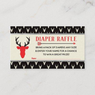 Diaper Raffle, Woodland Deer, Buffalo Plaid Enclosure Card