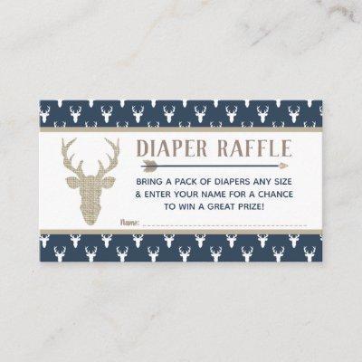 Diaper Raffle, Woodland Deer, Navy Blue, Burlap Enclosure Card