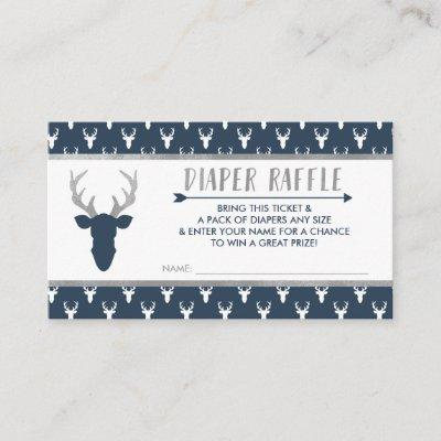 Diaper Raffle, Woodland Deer, Navy Blue, Silver Enclosure Invitations