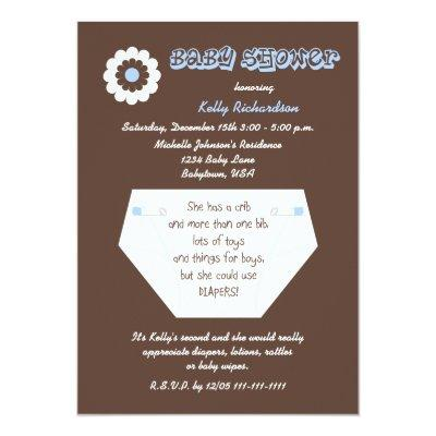 Diaper Second Baby Boy Shower Invitations