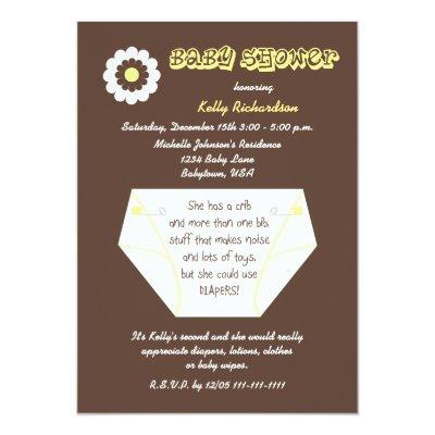 Diaper Second Baby Neutral Shower Invitations