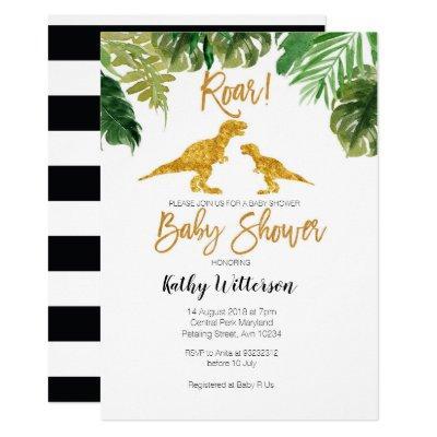 Dino Greenery oh baby baby shower invitation