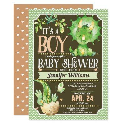 Dinosaur Baby Shower Invitations Boy, Green