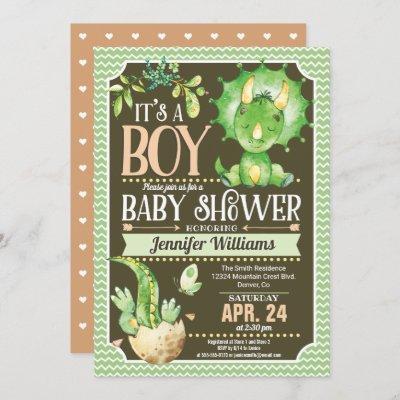 Dinosaur Baby Shower Invitation Boy, Green