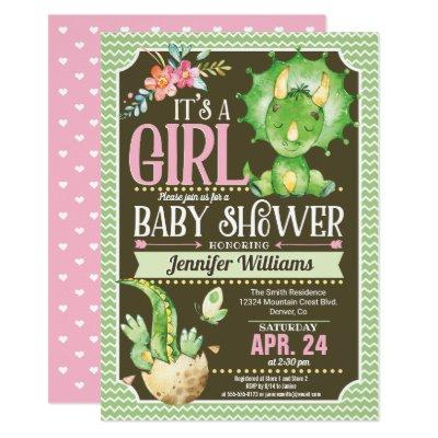 Dinosaur Baby Shower Invitations Girl, Green & Pink