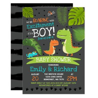 Dinosaur Baby Shower Invitation T-Rex Baby Shower