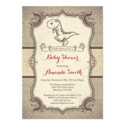 Dinosaur Baby Shower Invitations Vintage Retro