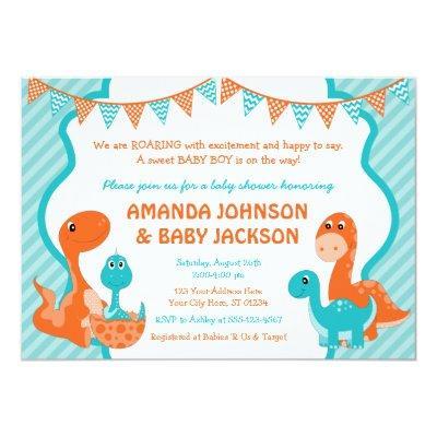 Dinosaur Baby Shower Invitation with Envelopes