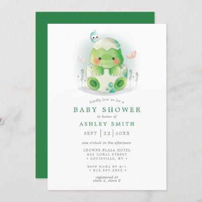 Dinosaur Egg Cute Watercolor Boy Baby Shower Invitation
