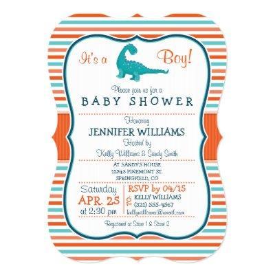 Dinosaur; Teal & Orange Stripes Baby Shower Invitations