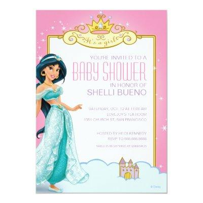 Disney Princess Jasmine It's a Girl Baby Shower Invitation