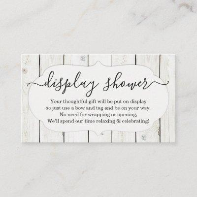 Display Shower Insert for Invitations - Rustic