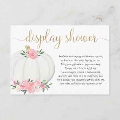 Display shower Pumpkin pink gold girl baby shower Enclosure Card