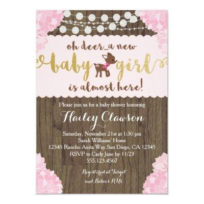 doe deer rustic girl invitations