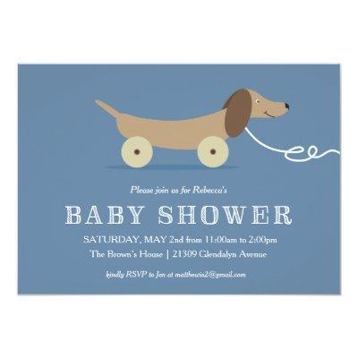 Dog Pull Toy Baby Shower Invitations