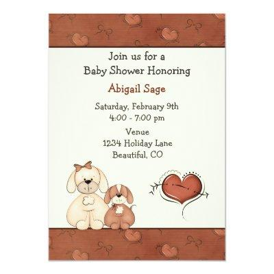 Dogs and Hearts Baby Shower Invitation for Girls