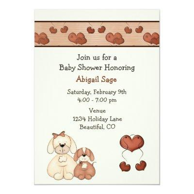 Dogs and Hearts Baby Shower Invitations for Girls