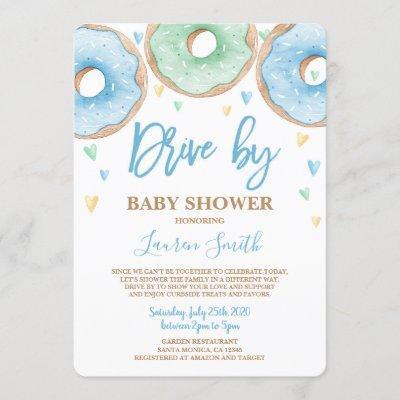 Donut Drive by Baby Shower boy Invitation