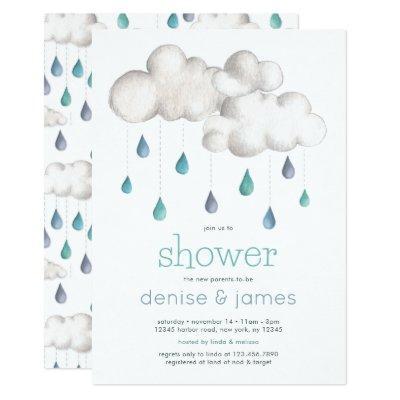 Doubly Cloudy with a chance of a Baby Shower Invitation