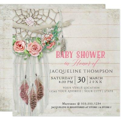 Dream Catcher Baby Shower Girl BOHO Wood Feather Invitation