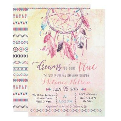 Dream Catcher Boho Baby Shower Invitations