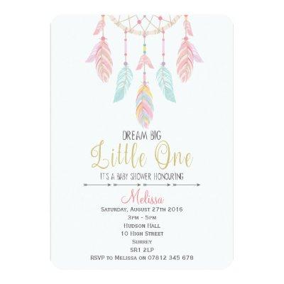 Dreamcatcher Baby Shower Invitations