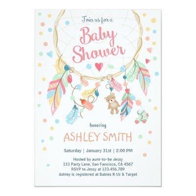 Dreamcatcher Baby Shower Invitations Tribal Boho