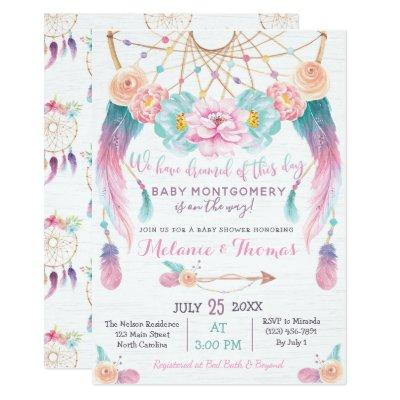 Dreamcatcher Boho Baby Shower Invitation Tribal