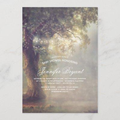 Dreamy Tree String Lights Rustic Baby Shower Invitation