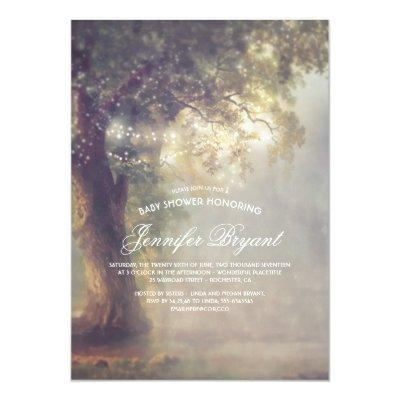 Dreamy Tree String Lights Rustic Baby Shower Invitation