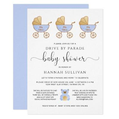 Drive By Baby Boy Shower | Retro Carriage Blue Invitation