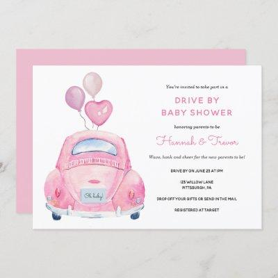 Drive By Baby Girl Shower Invitation