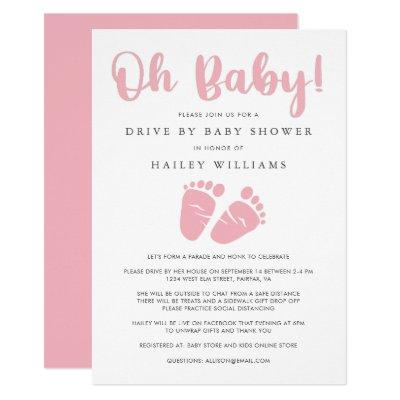 Drive By Baby Girl Shower | Oh Baby Baby Feet Pink Invitation