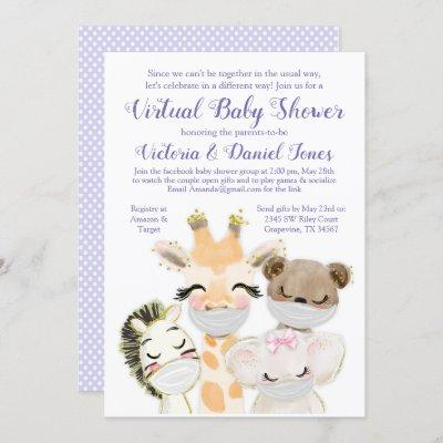 Drive By Baby Shower Baby Animals with Masks Invitation